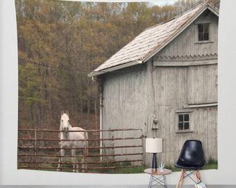 Barn and Horse, Wall Tapestry,Equestrian,White,Grey,Modern Wall Art,Home Decor,Home Accessories,Bedroom Art,Unique Design,Interior Design