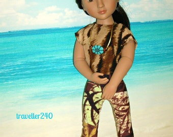 "A Girl For All Time Doll Clothes, Clothing for 16"" Dolls, Handmade Top Pants Necklace in Seaside Colors, AGAT Fashion Outfit by traveller240"