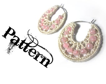 Crochet Pattern - Beaded Hoop Earrings