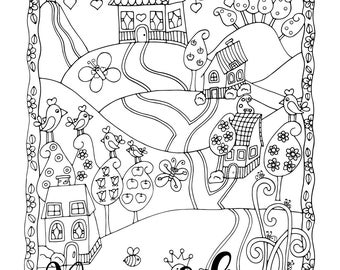 Sunday Drive, 1 Adult Coloring Book Page, Printable Instant Download, Tiny Houses, Flowers