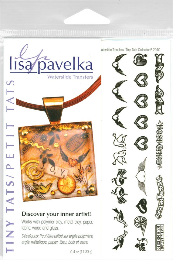 Lisa Pavelka Tiny Tats Waterslide transfers with designs from asian, renessance, ancient, pre-raphaelites use on polymer clay, wood, glass