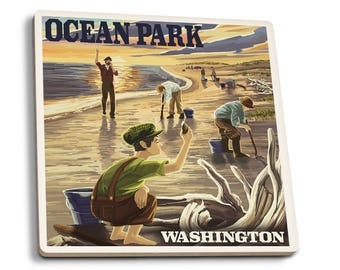 Ocean Park, WA - Clam Diggers - LP Artwork (Set of 4 Ceramic Coasters)