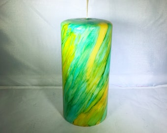 Pillar Candle, Alcohol Ink Candle, Unscented Candle, Candle Decor, Colorful Candle