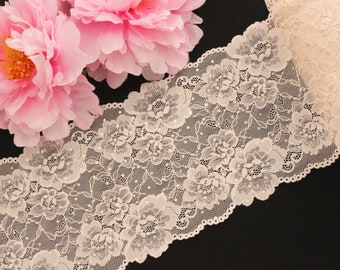 """1 YD Pale Peach Gold Metallic Polka Dots 6.5"""" Stretch Lace for Bramaking Lingerie Underwear Sewing DIY"""