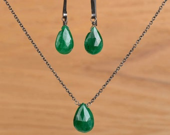 Emerald Jewelry Set: Genuine Natural Emerald Earrings & Necklace, Green Emerald Jewelry May Birthstone, 14K Rose Gold Filled Sterling Silver