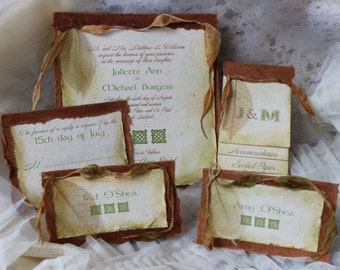 Seeded Plantable Wedding Invitation with Celtic Theme, Irish Invitation