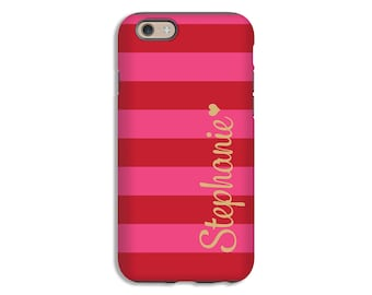 Personalized iPhone 7 case/7 Plus case, iPhone X case, pink and red stripes iPhone 8/8 Plus case, iPhone 6s Plus case, iPhone 6 Plus case