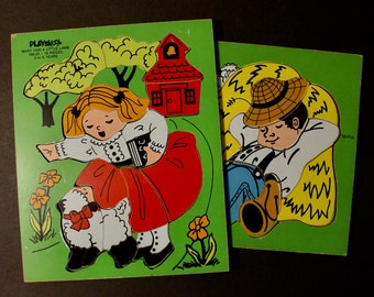Vintage 2 Playskool Wooden Puzzles Little Boy Blue and Mary Had a Little Lamb