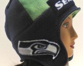 seahawks handmade Seattle Seahhawks earflap hat reversible blue green