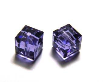 4x Swarovski Cube (5601) 6 mm - Tanzanite - Genuine Austrian Crystal