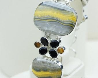 AAA Graded Fantastic Pattern BumbleBee Jasper SPINEL 925 S0LID Sterling Silver Bracelet B2228