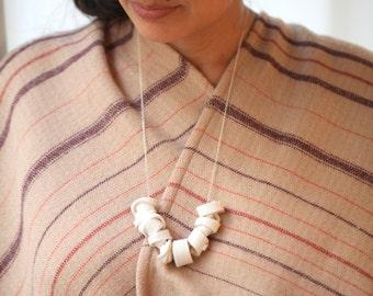 Navua, porcelain necklace Goutte de Terre, silver, one of a kind (OOAK), Porcelain jewelry