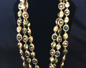 1940's Green & Gold Beaded Four Strand Necklace