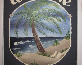 Handpainted Personalized Palm Tree Beach Nautical Slate Welcome Sign Florida