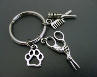 Dog Groomer Keychain / Scissors Keychain /  Pet Lover Keychain / Dog Groomer Key Ring / Paw Keychain / Dog Adoption / Animal Lover Keychain