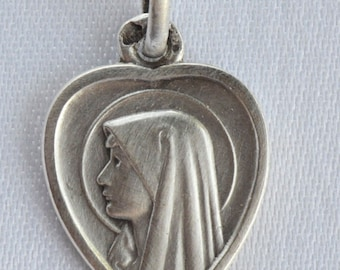 Our Lady of Lourdes - Virgin Mary Portrait - Antique French Sterling Silver Heart Medal Pendant Charm - Jewelry Communion Gift - Heart Charm