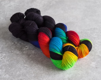 Rainbow Riot Black-Hand Painted Merino/Nylon Yarn 1 skein 100g