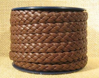 10mm Flat Braided Leather - Dark Brown