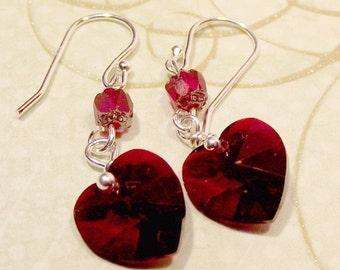 Kristall Herz Ohrringe Swarovski Kristall Valentinstag Geschenk