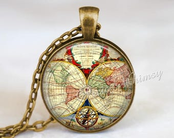 Old photo necklace etsy antique world map necklace map necklace map jewelry old world map pendant gumiabroncs Gallery