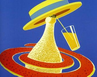 orangina vintage advertising- Bernard Villemot 1950s- deco pub- fine art printing
