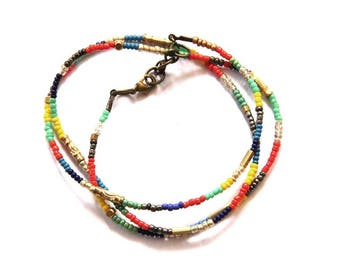 Rainbow Beaded Wrap Bracelet
