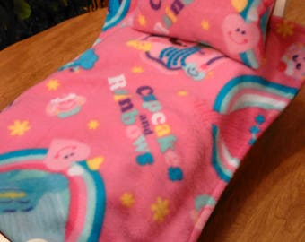 """18"""" and 14.5"""" doll trolls blanket and pillow, made for standard size doll bed"""