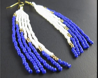 Native American Beadwork Long Seed Bead Earrings Blue White and Gold Chandelier Dangle