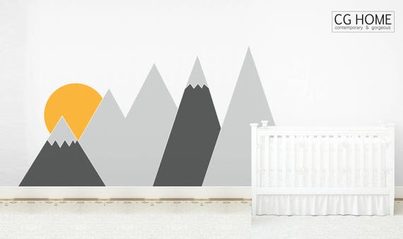 Mountains Wall Decal Nursery For Kids Room Wall Covering Sun Headboard Corner Baby Room Decor Custom self adhesive Sticker #mountains030
