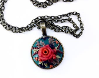 Autumn Rose~Polymer Clay Floral Pendant Necklace~Handmade~Gift