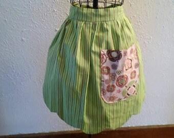 green striped half apron  with bottom scallop