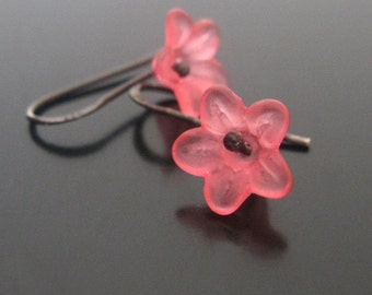 deep pink blossoms.... lucite and sterling earrings