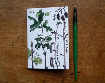 A6 Tree Notebook with printed pen and ink Modern Botanical Illustrations by Alice Draws The Line