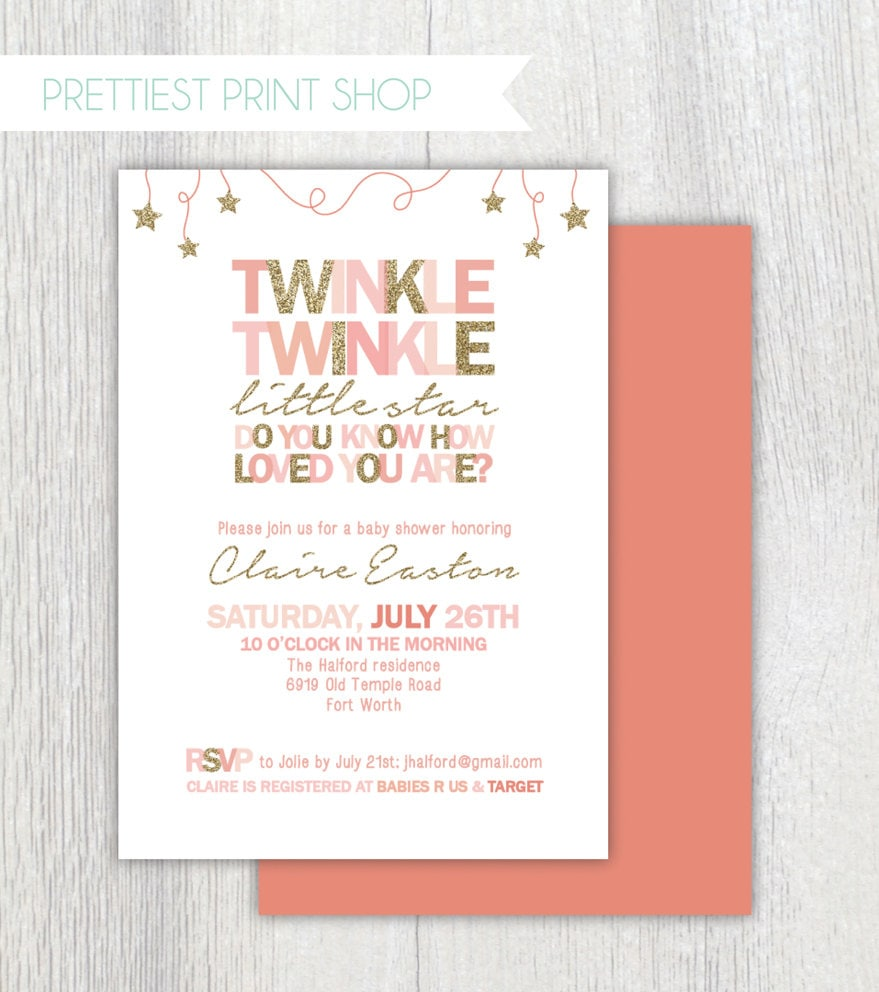 Printable Twinkle Twinkle Little Star Invitation Pink And