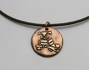 Copper Owl Necklace on Brown Leather Cord Necklace, Handmade Copper Jewelry, Copper and Leather, Brown Leather Necklace, Owl Bird Lover