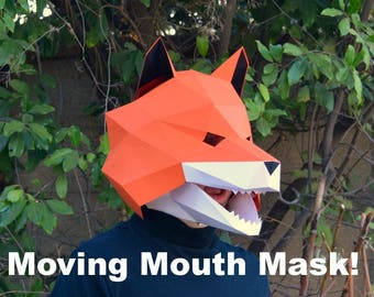 Fox Mask with Moving Jaw! - Paper Halloween Mask | DIY Paper Mask | Printable Mask | Fox Mask | Animal Mask