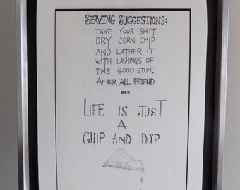 Chip and dip: a4 limited edition giclee art print. original typography.
