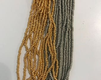 Steel & Gold Colored Beads (Size 10/0)