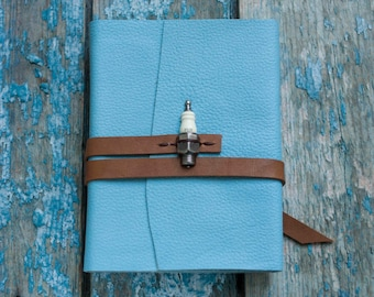 Blue Leather blank book Leather journal  Handmade leather journal Travel journal  Leather notebook Travel Book  Diary Notebook
