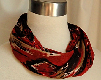 Rust Ikat Short Infinity Scarf -   Brown and Orange No Fuss Circle Scarf