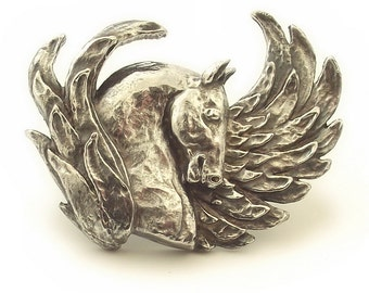 Horse brooch, Pegasus brooch, horse lovers gift, animal jewelry, horse art, handmade, unique gift, statement jewelry,equine, sterling silver