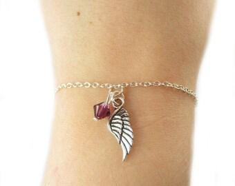 Wing Bracelet- choose a birthstone, Wing Jewelry, Wing Gift, Angel Bracelet, Angel Wing Bracelet, Memorial Bracelet, Child Loss, Wing