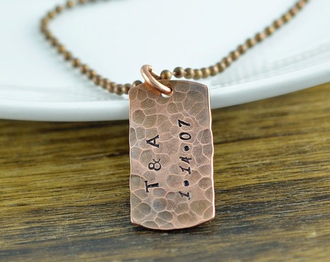 personalized mens necklace - mens necklace - mens jewelry - copper anniversary necklace -anniversary gifts for boyfriend - gift for men