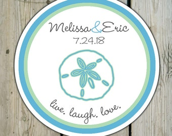 Round Custom Beach Favor Labels / Stickers - Sand Dollar - Personalized Beach Wedding Favor Stickers / Shower Labels / Birthday Stickers