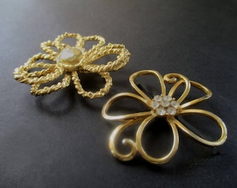 Flower Pins * Large Openwork Flowers * One MAMSELLE With Rhinestones * Lot Of Two Gold Tone Brooches