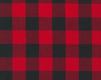 Red Black Buffalo Check, Carolina Gingham, Robert Kaufman, Buffalo Plaid, Cotton Fabric, Quilt Fabric, Christmas Decor, Fabric By the Yard