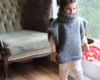 Turtleneck Poncho with Buttons for Kids and Adults