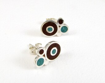 Sterling Silver Earrings, Bubbles Earrings, Brown Turquoise, Ear Studs, Modern, Contemporary Jewelry, Colorful Bubbles