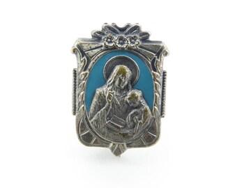 Vintage St. Ann Pin, Blue Enamel, Silver Tone, Religious Jewelry, STM56