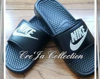 Nike Slides, Bling Nike Slides, Black Slides, Nike Flip Flops, Bling Flip